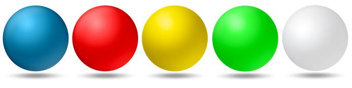 Tischtennisbälle in verschiedenen Farben